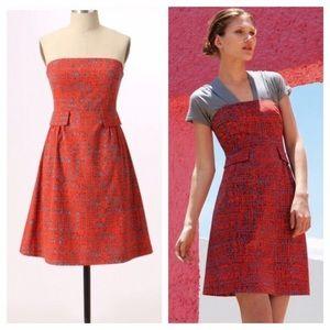 Anthropologie Tabitha Crosshatch Strapless Dress